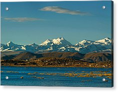 Lake Titicaca And The Cordillera Real In The Background.republic Of Bolivia. Acrylic Print by Eric Bauer