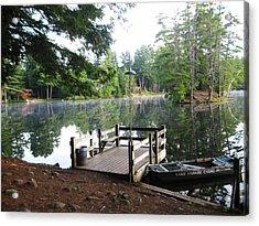 lake Vanare dock Acrylic Print by Lali Partsvania