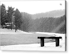 Acrylic Print featuring the photograph Lakeside Bench by Michelle Joseph-Long