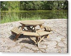 Lakeside Picnic Table Acrylic Print by Jaak Nilson