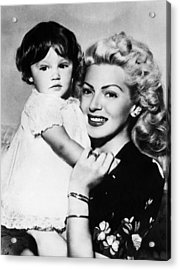 Lana Turner Right, And Daughter Cheryl Acrylic Print by Everett