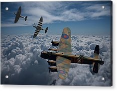 Lancaster Bomber And Spitfires Acrylic Print by Ken Brannen