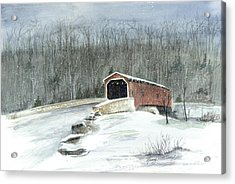 Acrylic Print featuring the painting Lancaster County Covered Bridge In The Snow  by Nancy Patterson