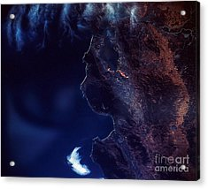 Land And Water From Satellite Acrylic Print by Stocktrek Images