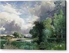 Landscape With A Bridge Acrylic Print by Thomas Moran