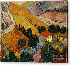 Landscape With House And Ploughman Acrylic Print by Gogh Vincent van