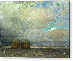 Landscape With Huts Acrylic Print by Leopold Karl Walter von Kalckreuth