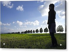Landscape With Row Of Trees And Person Acrylic Print by Matthias Hauser