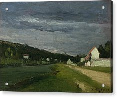 Landscape With Stormy Sky Acrylic Print by Camille Pissarro