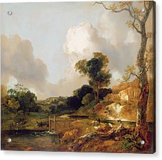 Landscape With Stream And Weir Acrylic Print by Thomas Gainsborough