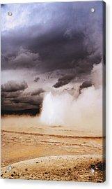 Landscapes Of Yellowstone - Great Fountain Geyser Acrylic Print by Ellen Heaverlo