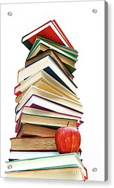 Large Pile Of Books Isolated On White Acrylic Print by Sandra Cunningham