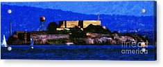 Last Light Over Alcatraz . Panorama Cut Acrylic Print by Wingsdomain Art and Photography
