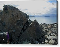 Acrylic Print featuring the photograph Laughing Rock On Lake Tekapo Foreshore.o by Nareeta Martin