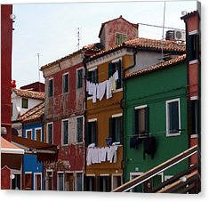 Laundry Day In Burano Acrylic Print by Carla Parris