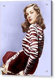Lauren Bacall, Ca. 1944 Acrylic Print by Everett