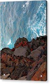 Lava Rocks And Ocean Water Acrylic Print by Jennifer Bright