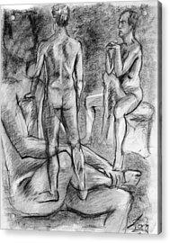 Layered Man Figure Study Acrylic Print by Adam Long
