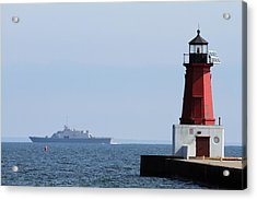 Acrylic Print featuring the photograph Lcs3 Uss Fort Worth By The Menominee Lighthouse by Mark J Seefeldt