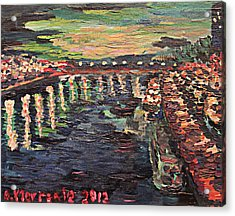 Acrylic Print featuring the painting Le Seine De Nuit by Denny Morreale