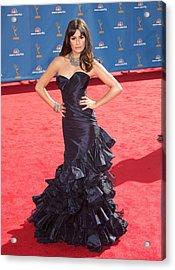 Lea Michele Wearing An Oscar De La Acrylic Print by Everett