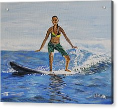 Learning To Surf Acrylic Print by Donna Muller
