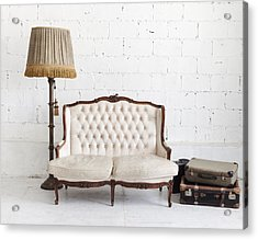 Leather Sofa In White Room Acrylic Print