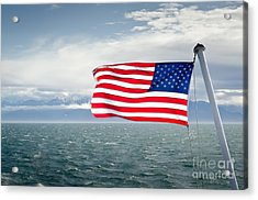 Leaving The Olympics Stars And Stripes On The Straits From The Olympic Mountains Acrylic Print by Andy Smy