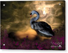 Acrylic Print featuring the digital art Leda And The Swan by Rosa Cobos