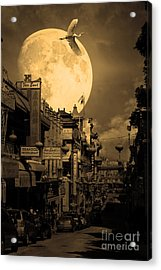 Legend Of The Great White Phoenix Of Chinatown . 7d7172 . Sepia Acrylic Print by Wingsdomain Art and Photography