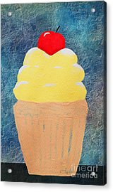 Lemon Cupcake With A Cherry On Top Acrylic Print by Andee Design