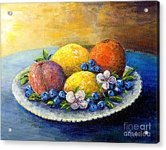 Acrylic Print featuring the painting Lemons And Blueberries by Lou Ann Bagnall