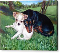Acrylic Print featuring the painting Lena And Peanut by Nancy Tilles