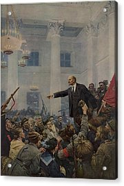 Lenin 1870-1924 Declaring Power Acrylic Print by Everett