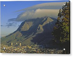 Lenticular Cloud Over Table Mountain Acrylic Print by Gordon Wiltsie