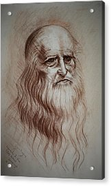 Acrylic Print featuring the drawing Leonardo Da Vinci Study by Lynn Hughes