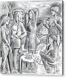Les Demoiselles V1 Acrylic Print by Susan Cafarelli Burke