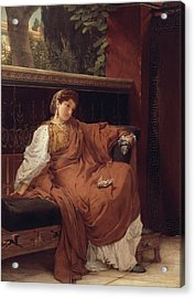 Lesbia Weeping Over A Sparrow Acrylic Print by Sir Lawrence Alma-Tadema