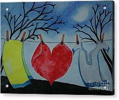 Lets Wash Heart Acrylic Print by Jalal Gilani