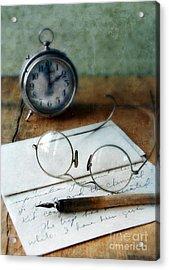 Letter Pen Glasses And Clock Acrylic Print by Jill Battaglia