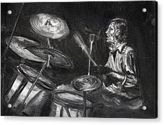 Acrylic Print featuring the drawing Levon Helm In Charcoal by Denny Morreale