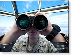 Lieutenant Uses Binoculars To Scan Acrylic Print by Stocktrek Images