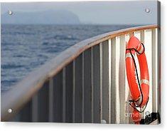 Life Belt On Deck Acrylic Print by Sami Sarkis