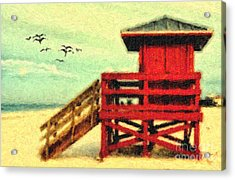 Acrylic Print featuring the photograph Life Guard Station by Gina Cormier
