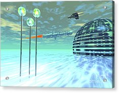 Life Under Domes On An Alien Waterworld Acrylic Print by Corey Ford
