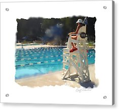 Lifeguard At Tosa Pool Acrylic Print by Geoff Strehlow