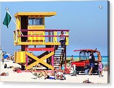 Lifeguard Hut Acrylic Print by Dieter  Lesche