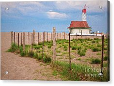 Lifeguard Hut Seen Through Fence Acrylic Print