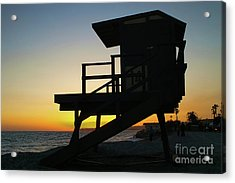 Lifeguard Silhouette Acrylic Print by Mariola Bitner