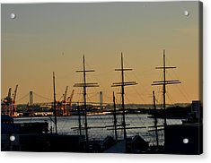 Light Before Sunset From The Brooklyn Bridge Acrylic Print by Diane Lent